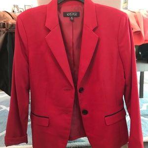 Kasper Red Jacket with Black Trim.